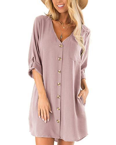 CNFIO Damen Blusekleider Elegant Minikleider Sommerkleid mit Taschen V-Ausschinitt 1/2 Ärmel Kleider D-Rosa EU46