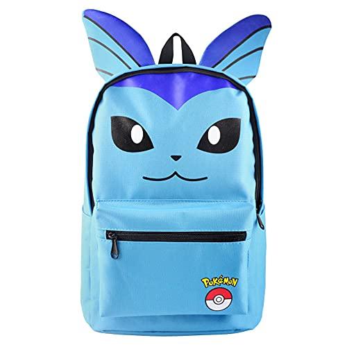 Pikachu Eevee Gengar - Mochila escolar unisex para niños y niñas, mochila de día para camping, espaciosa noche de vacaciones, bolso para portátil (vaporeon)