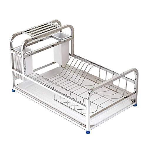 LIZANAN Escurridor de tablas de cocina, 304 de acero inoxidable multifunción estante de almacenamiento de la casa de acero inoxidable color de drenaje rack de cocina de secado de platos