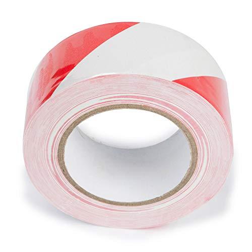 2 rollos de 50 m de cinta adhesiva de PVC para señalización de suelo y seguridad, color rojo y blanco, 50 mm x 50 m