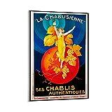 KKMM Póster retro de la nostalgia de los 80 La Chablisienne de la pintura decorativa de la pared del arte de la pared de la sala de estar carteles del dormitorio pintura de 60 x 90 cm