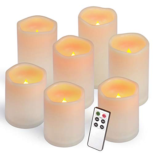 Flameless Candles, Led Candles,Battery Operated Candles Electric Set of 7(H 4'4'4'5'5'6'6' x D 3') Ivory Resin Candles with Remote Timer Waterproof Outdoor Indoor Candles(Made of Plastic)