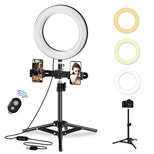 Selvim - Anillo LED con trípode, 3 modos de iluminación, 10 niveles de luminosidad, mando a distancia Bluetooth, Selfie Ring Light de 8 pulgadas con interfaz USB para maquillaje, vídeo o fotografía