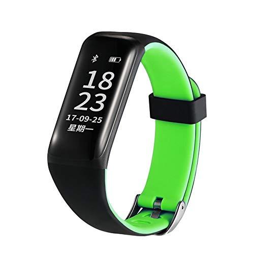 OaLt-t Bracelet de Sport imperméable Longue Veille Mode Multi-Fonction podomètre 0,96 Grand écran Grande Police précision Montre Cadence (Couleur : Vert)