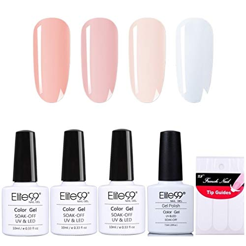 Elite99 French Nägel Design Nagellack, Weiß und Rosa Gellack, Frenchnägel Maniküre, UV Gel Nail Polish 10ml und French Tip Guide Nagellack UV Set 003