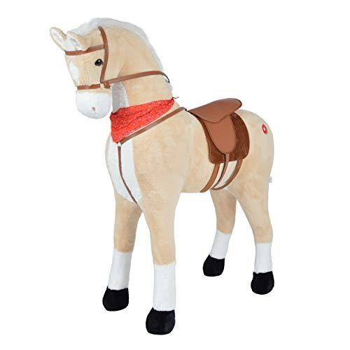 Pink Papaya Giant Riesen XXL Kinderpferd, Sternchen, 125 cm Plüsch-Pferd zum reiten, Fast lebensgroßes Spielzeug Pferd zum Drauf sitzen, bis 100kg belastbar, mit Sound im Ohr, inkl. Bürste