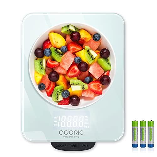 ADORIC Balance Cuisine Electronique Max 15kg Balance Cuisine Numérique de Haute Précision 1g, avec Plateforme en Verre Trempé Tactile Sensible Écran LCD Rétroéclairé Auto-arrêt