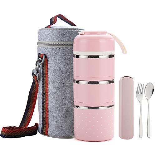 WORTHBUY Bento Lunch Box Stainless Steel Leakproof Food Storage Containers with Insulated Lunch Bag Portable Cutlery for Adult and Office Pink3 tier