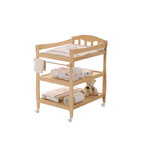 GUO@ Table à langer de bébé en bois de pin, Table de massage réglable en hauteur de quatrième vitesse, mobile avec station de soins pour nouveau-nés de frein, table/bureau d'école pour enfants, char