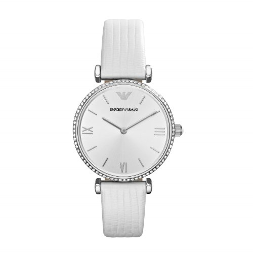 Emporio Armani Damen Analog Quarz Uhr mit Leder Armband AR1680