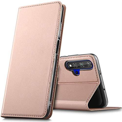 Verco Handyhülle für Huawei Nova 5T / Honor 20, Premium Handy Flip Cover für Huawei Nova 5T Hülle [integr. Magnet] Book Case PU Leder Tasche, Rosegold