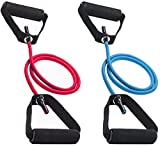 ZURU BUNCH®Resistance Band Exercise Cord Elastic Muscle Chest Expander Fitness Exercise Band with Comfortable Handle for Physical Therapy Strength Training Muscle Toning Tube Pack of 1 Multicolour