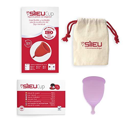 Copa Menstrual Sileu Cup Divine - Fácil de Extraer - Ayuda a prevenir infecciones urinarias y la cistitis - Alternativa ecológica y natural a tampones y compresas - Talla L, Morado