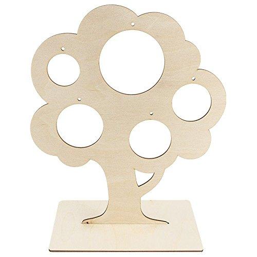 Deko-Baum aus Holz zum Aufstellen, 29,8cm x 25 cm, mit 5 kreisförmigen Aussparungen | Schmuckständer, Schmuckbaum, Fotobaum, Verzierung, Anhänger | DIY, Handwerk, Holzarbeiten