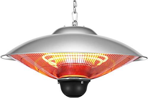 QIQI Cuelgue la Lámpara de Calefacción Infrarroja,Calentador Halógeno para Exterior Gazebo Oficina Casa,Plata