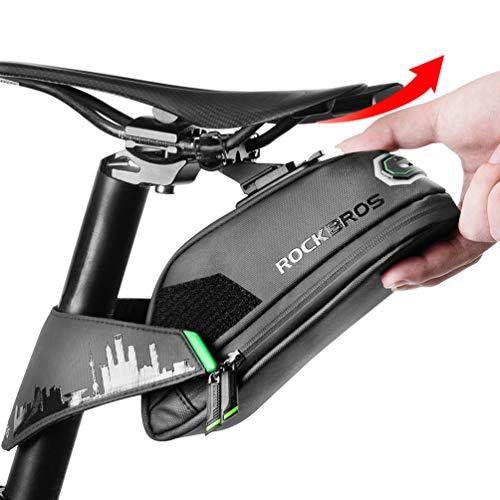 ROCKBROS Fahrrad Satteltasche Fahrradtasche für MTB Rennrad Fahrrad Sitztasche Wasserdicht Stoßfest Schwarz 1.5L mit Rücklichthalter.