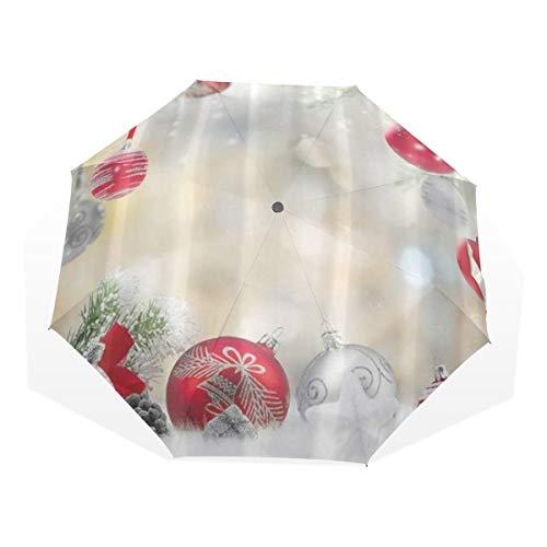 LASINSU Paraguas Resistente a la Intemperie,protección UV,Bolas de Cuerda Plateadas y Rojas...