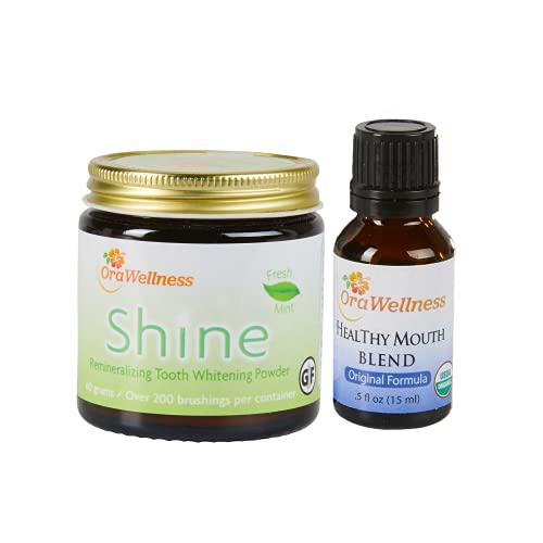 OraWellness Shine Remineralizing Natural Teeth Whitening Powder in Mint + Healthy Mouth Blend Organic Toothpaste & Mouthwash Alternative Tooth Oil, Pack of 2
