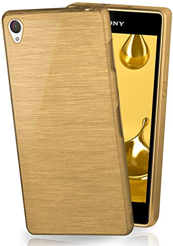 moex Stylische Brushed Aluminium-Optik und starker Grip   Ultra dünne Silikonhülle passend für Sony Xperia Z1 in Gold