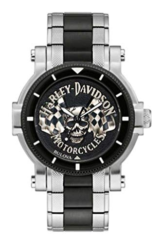 Harley-Davidson Men's Skull & Flags Stainless Steel Watch, Silver/Black 78A124