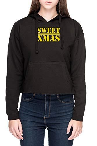 Vendax Sweet Xmas - Luke Cage & Iron Fist - Luke Cage Damen Bauchfreies Crop Kapuzenpullover Sweatshirt Schwarz Women's Crop Hoodie Black