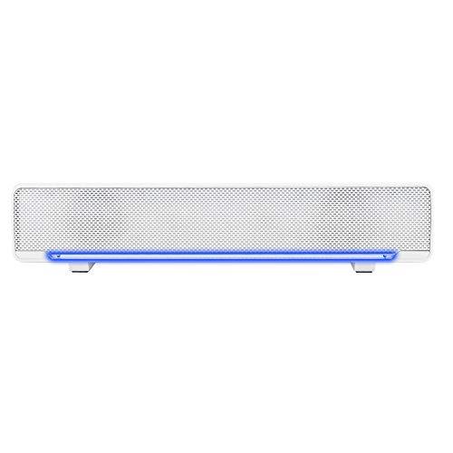 Altavoz de barra de sonido, Bluetooth 5.0 Barra de sonido de música con luz LED Computadora Audio Altavoz de escritorio Altavoz de sonido envolvente estéreo 3D para PC, tableta, Smartphone.(Blanco)