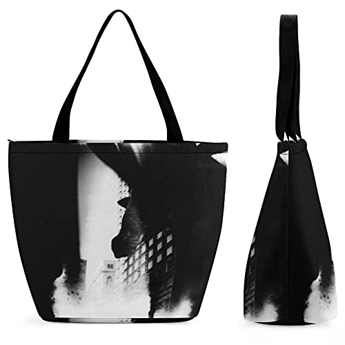 YANFIND Bolsa de compras de marca mujer artístico Blackandwhite Calle Holga Mediumformat Estatua de la jirafa Edificios Bspo Bolsa...