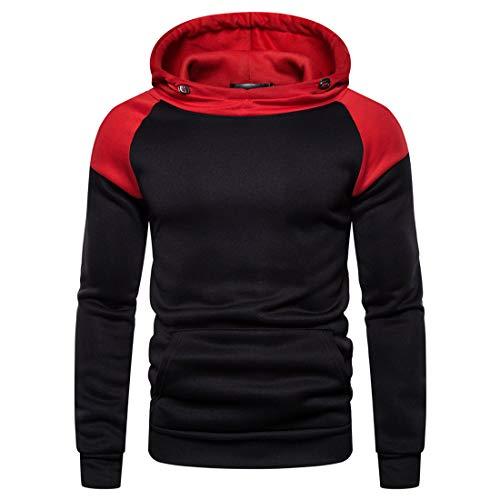 PANBOB Pullovers Herren Sport Mode Casual Herren Sweatshirt Langarm Frühlings- Und Herbst Mode Elegante Herren Outdoor Sport Fitness Kleidung Herren Tops D-Red S