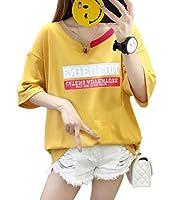 [Bestmood]カットソー レディース ゆったり 半袖 プルオーバー クルーネック ファッション Tシャツ 個性 カジュアル トップス 夏(Vイエロー)