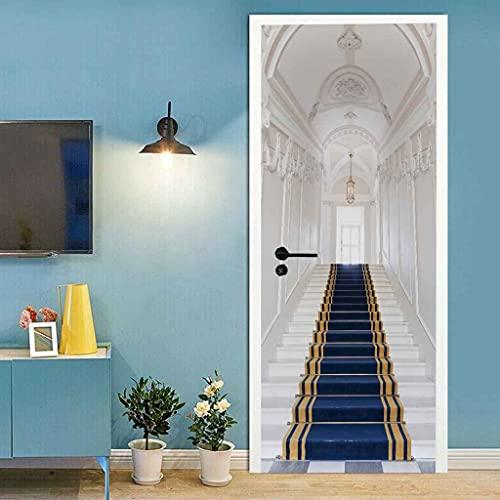 BARFPY 3D Etiqueta de Puerta Escaleras alfombra azul para la puerta de renovación del arte mural de puerta vinilo calcomanía impermeable pared de la sala de estar Cocina dormitorio pegatina 77x200cm