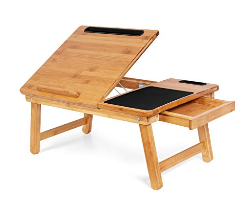Sofia + Sam Multi Tasking Laptop Bed Tray – Work from Home Desk - Bamboo Lap Desk – Folding TV Tray Table – Smartphone Tablet Lap Tray – Homework Study Reading Eating Food - Computer Stand - Natural