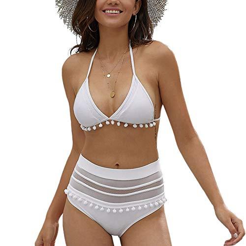 Maillot de Bain 2 pièces Femme Bikini Set à Rayures Taille Haute Blanc M