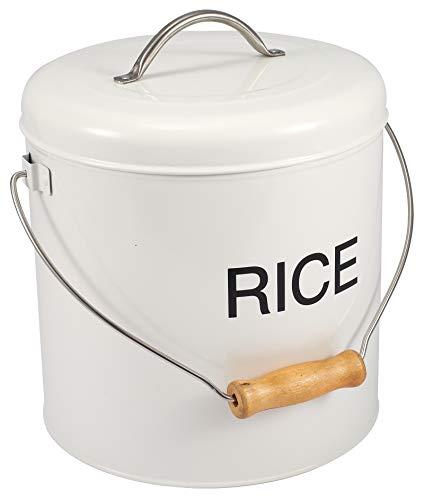 White Steel Trockenfutter Küche Aufbewahrungsbox Reis Lagerung, Mehl mit festem Deckel Perfekt für Getreide Reis Pasta & mehr-Weiß