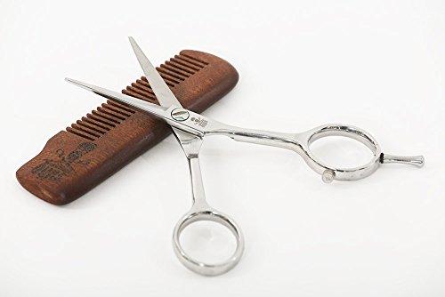 Ciseaux à barbe premium avec peigne en bois et étui cuir | Acier inoxydable | Repose-doigt | Haute précision | Grands trous pour les doigts | Aiguisés | Taillez, coupez, modelez votre barbe | 17 cm
