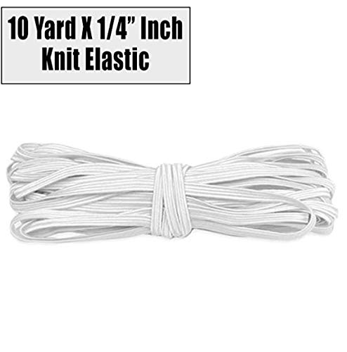 Barcelonetta   10 Yard X 1/4' Inch   Sewing Elastic   Elastic Band Cord   Knit Roll, Stretch, Craft Elastan   Made in USA, Loose Packaging (White)
