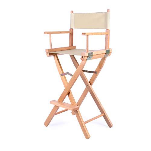 BAR STOOL Toile Chaise Pliante Jambes en Bois Télescopique MaquillageArtiste Directeur Chaise en Bois Chaise De Maquillage Pliable - 5 Couleurs