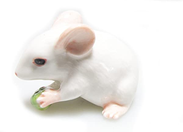 Grandroomchic Animal Miniature Handmade White Rat Mouse Statue Porcelain Figurine Statuette Collectibles