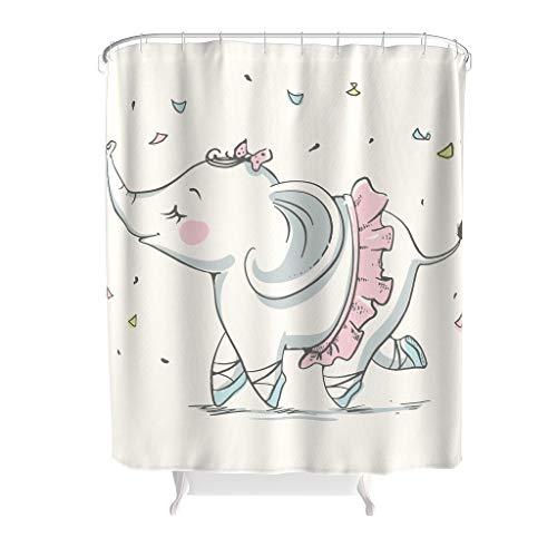 Charzee Douchegordijnen met olifant patroon en antibacterieel gordijn voor de badkamer met gordijnhaak Gift for Family