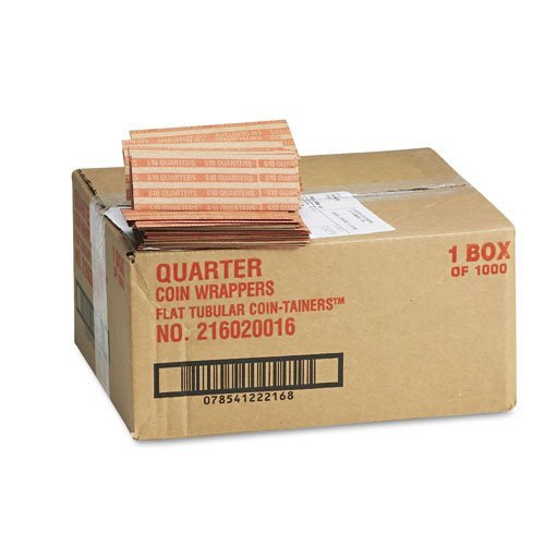 MMF Industries : Pop-Open Flat Paper Coin Wrappers, Quarters, $10, 1,000 Wrappers per Box -:- Sold as 2 Packs of – 1000…