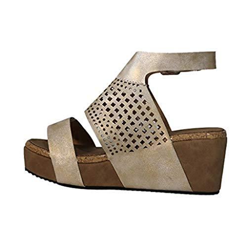 Sharemen - Sandalias de cuña de verano para mujer con hebilla de tobillo, 9, Negro