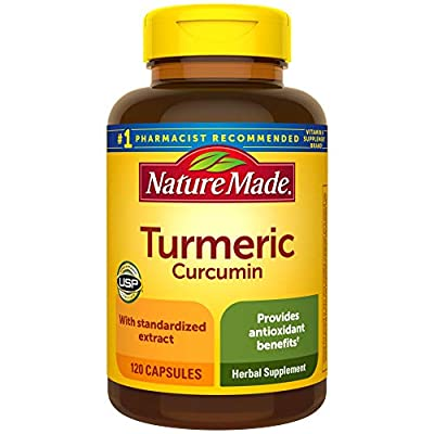 Nature Made Turmeric Curcumin 500 mg Capsules, 120 Count for Antioxidant Support