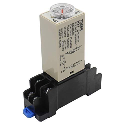 Heschen Relé de retardo temporizador H3Y-2 24VDC 60 minutos 250VAC 5A 8Pin Terminal DPDT con DYF08 35mm DIN Rail Base