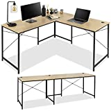 Best Choice Products 94.5in Modular L-Shaped Desk, Corner Computer Workstation, Long 2-Person Study Table for Home, Office w/Adjustable Legs, 200 lb. Capacity, Customizable Set Up - Oak/Black