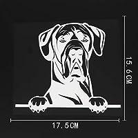 アウトドア ステッカー 17.5CMX15.6CMおかしいグレートデーン犬ステッカーチラッと覗く犬ビニール車ステッカーブラック/シルバー アウトドア ステッカー (Color Name : Silver)