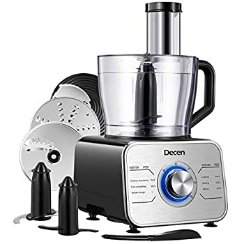 Decen 12 Cup Food Processor Variable Speed Food Processor with Dough Blade Vegetable Chopper for Slicing Shredding Mincing and Puree 600W Powerful Motor BPA Free Silver