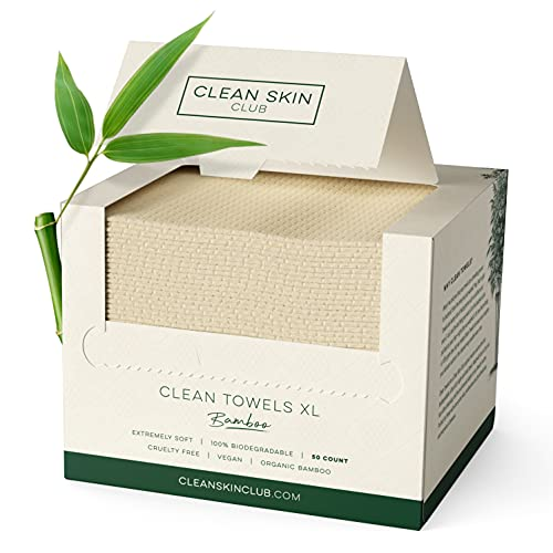 Clean Skin Club Bamboo Clean Towels XL   World 1ST Biodegradable Face Towel   Disposable Dry Makeup Removing Wipes   100% Organic Bamboo   Super Soft for Sensitive Skin (50 Count / Single Box)
