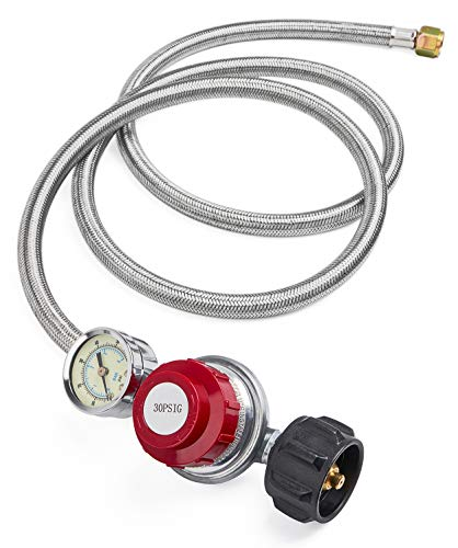 GASPRO Braided Steel 5Ft 30 PSI Adjustable Propane Regulator with Gauge,for Burner,Turkey Fryer,Forge,etc