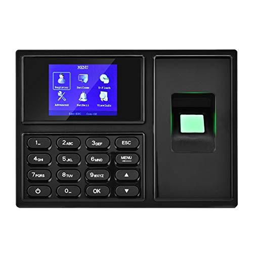 ASHATA Fingerabdruck Zeiterfassung, 2.4 Zoll HD LCD Biometrische Fingerabdruck Zeiterfassungssystem Recorder,Mitarbeiter Check-in Recorder Anwesenheits Uhr System Maschine EU Stecker(Schwarz)