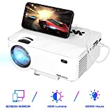 TOPVISION Mini Beamer mit Screen Mirroring,4500 Lumen Heimkino Beamer Full HD 1080P Video Beamer mit 180' Display, 60000 Stunden LED Beamer kompatibel mit HDMI/USB/SD/AV/VGA