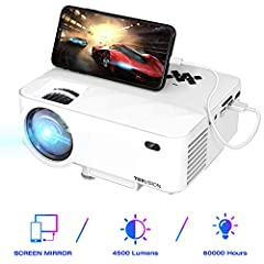 "TOPVISION Mini Projector met Screen Mirroring, 4500 Lumens Home Cinema Projector Full HD 1080P Video Projector met 180"" Display, 60000 uur LED-projector compatibel met HDMI/USB/SD/AV/VGA*"